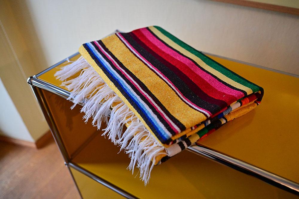 Handgewebte Baumwolldecke Gelb