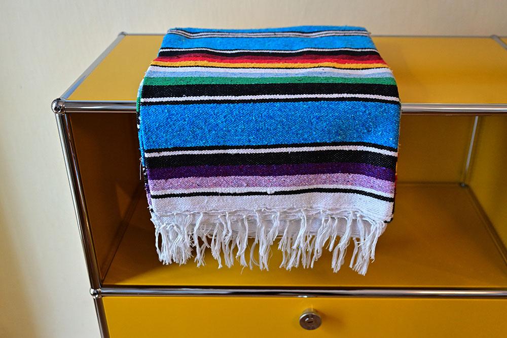 Handgewebte Baumwolldecke Blau